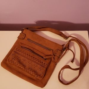 Brown Cut Out Pocket Crossbody Purse [Claires]
